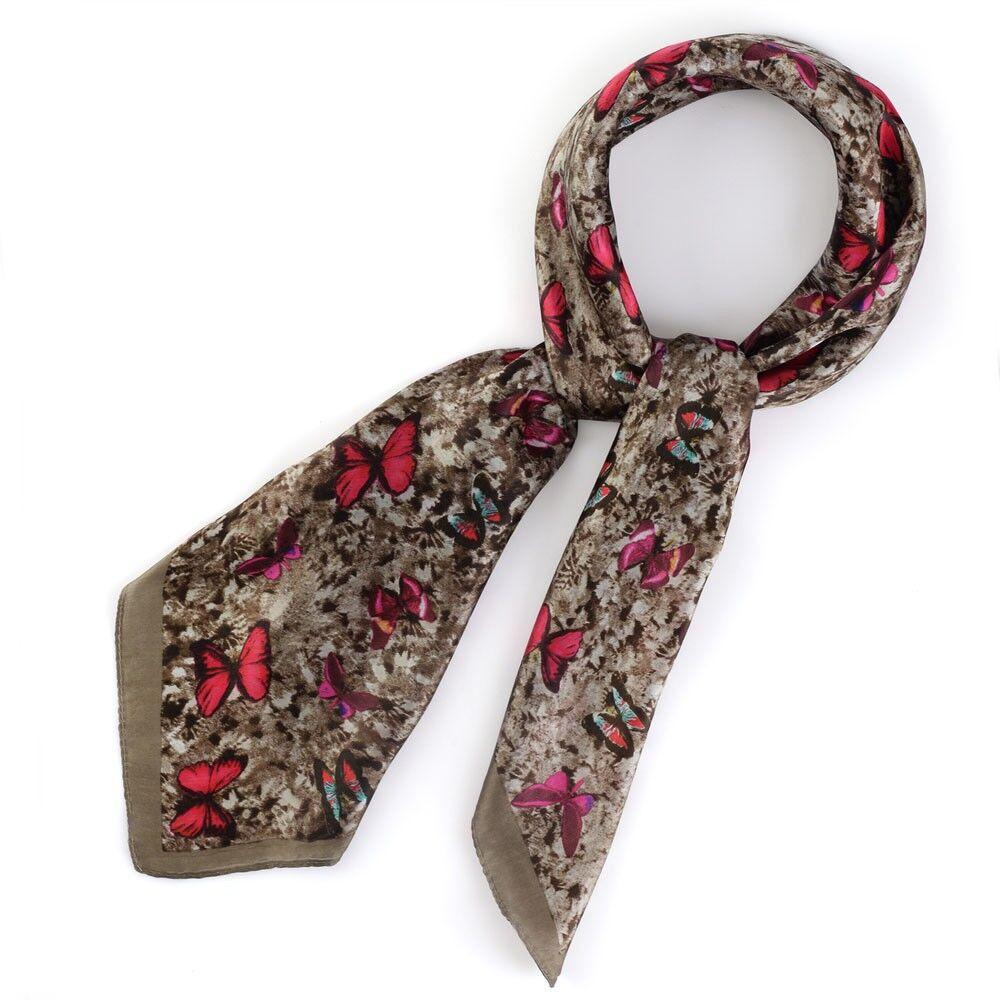 carr de soie flutini couleur taupe all e du foulard. Black Bedroom Furniture Sets. Home Design Ideas