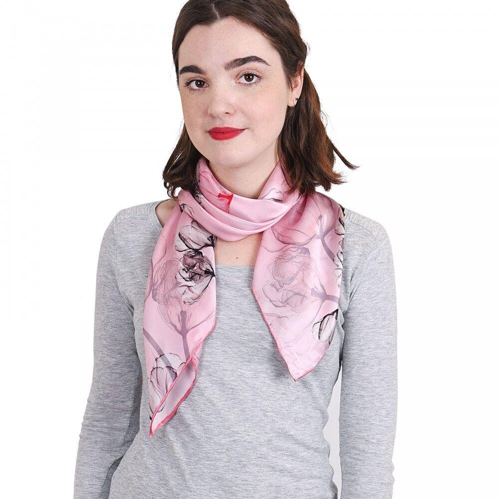 carr de soie premium cotonnade rose 85x85 cm all e du foulard. Black Bedroom Furniture Sets. Home Design Ideas