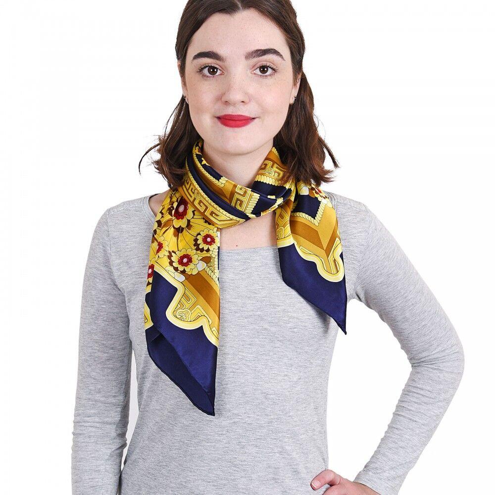 carr de soie premium aleja marine 85x85 cm all e du foulard. Black Bedroom Furniture Sets. Home Design Ideas