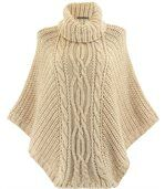 Poncho laine grosse maille beige ELODY preview1