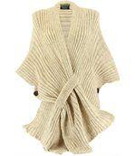 Gilet poncho laine alpaga grosse maille ATOS beige preview1