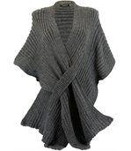 Gilet poncho laine alpaga grosse maille ATOS gris preview1