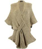 Gilet poncho laine alpaga grosse maille ATOS taupe preview1