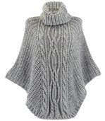 Poncho laine grosse maille gris perle ELODY preview1