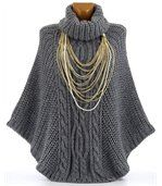 Poncho laine grosse maille gris foncé ELODY preview2