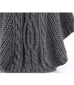 Poncho laine grosse maille gris foncé ELODY preview4