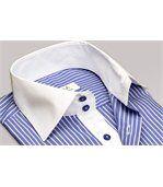 Chemise homme à rayures bleu marine intérieur blanc poignets napolitains - Chemise CINTRÉE preview1