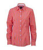 chemisier chemise manches longues FEMME carreaux vichy JN616 - orange preview1