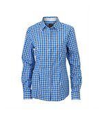 chemisier chemise manches longues FEMME carreaux vichy JN616 - bleu roi preview1