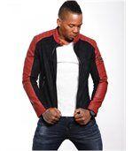 Blouson homme aspect cuir daim rouge preview1
