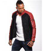 Blouson homme aspect cuir daim rouge preview2