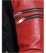 Blouson homme aspect cuir daim rouge preview3