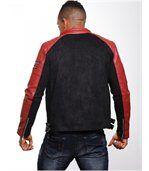 Blouson homme aspect cuir daim rouge preview4