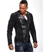 Blouson homme faux cuir noir preview2