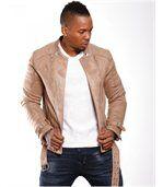 Blouson homme fashion beige preview1