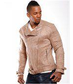 Blouson homme fashion beige preview2