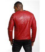 Blouson homme faux cuir rouge preview4