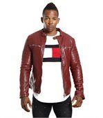 Blouson homme faux cuir rouge preview1