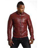 Blouson homme faux cuir rouge preview2