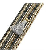Joli Bracelet Femme Cuir Gris Incrusté DAPHNEE 1130 preview1