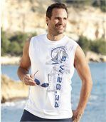 Pack of 2 Men's Vests - White Navy Blue  preview2
