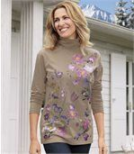 Women's Roll Neck Top - Floral Motif preview1