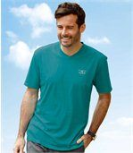 Pack of 3 Men's V-Neck T-Shirts - White Green Brown preview2