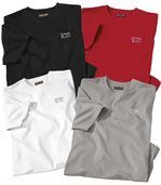 Pack of 4 Men's T-Shirts - White Black Grey Red preview1