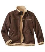 Men's Brown Faux-Suede Jacket with Sherpa Lining