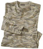 Camouflage-T-shirt met knopenkraag preview2