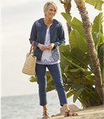 Strečová džínsová bunda s výšivkou preview5