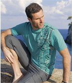 Pack of 2 Men's Surfing T-Shirts - Black Turquoise preview2