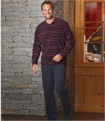 Men's Striped Microfleece Pyjamas - Burgundy, Blue preview1