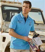 Men's Turquoise Adventure Piqué Fabric Polo Shirt