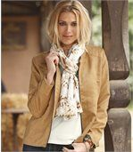 Women's Camel Faux Suede Jacket preview2