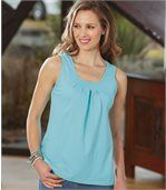 Pack of 2 Women's Vest Tops - Black Turquoise preview3