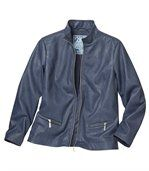 Women's Navy Faux Leather Jacket  preview3
