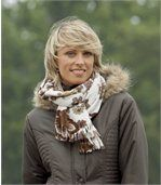 Women's Ecru Fleece Scarf - Floral Motif  preview1