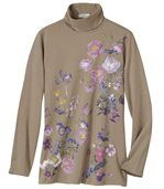 Women's Roll Neck Top - Floral Motif preview2
