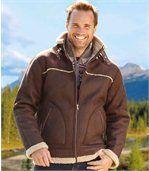 Kurtka ze sztucznego zamszu z kożuszkiem sherpa preview2