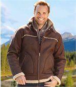 Semišová bunda zateplená umělou kožešinou preview2