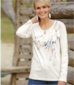 Tee-Shirt Manches Longues Femme Blanc Plumes Pastel preview1