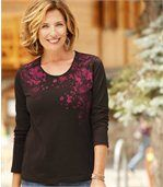 Women's Brown Long Sleeve Top with Cherry Blossom Pattern preview1