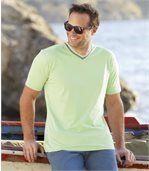 Pack of 3 Men's V-Neck T-Shirts - Navy Green White