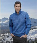 Blau melierter Pullover mit Strehkragen preview1