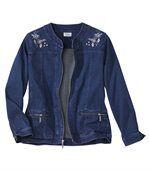 Strečová džínsová bunda s výšivkou preview1