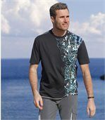Pack of 2 Men's Surfing T-Shirts - Black Turquoise preview3