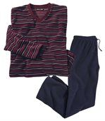 Men's Striped Microfleece Pyjamas - Burgundy, Blue preview2