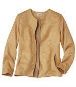 Women's Camel Faux Suede Jacket preview3