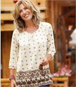 Women's Loose Blouse - Patterned
